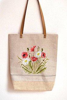 Veľké tašky - Veľká plátená taška-ručne maľovaná-Divé maky a margaréty - 10685617_