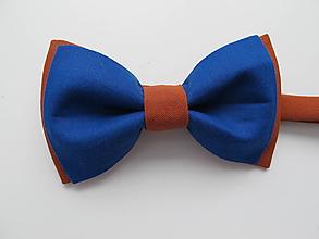 Doplnky - Pánsky motýlik- modroškoricový - 10683456_