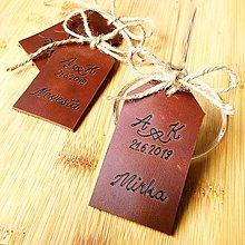 Darčeky pre svadobčanov - Kožené menovky a darčeky pre svadobčanov - 10683716_