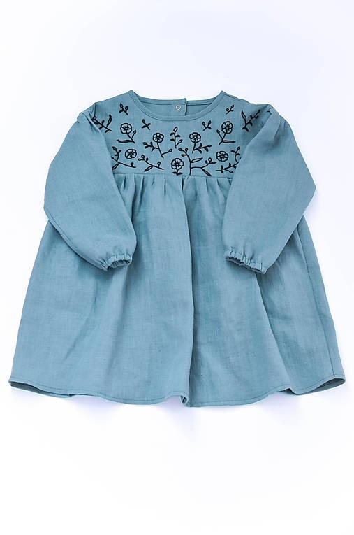 Vyšívané šaty IDA dymovo zelené