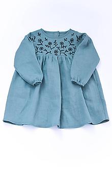 Detské oblečenie - Vyšívané šaty IDA dymovo zelené - 10683401_