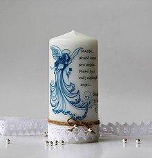 Svietidlá a sviečky - Sviečka s venovaním - Deň matiek IV. (Modrá) - 10686221_