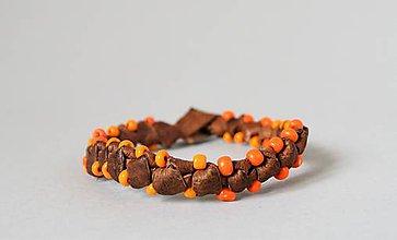 Náramky - kožený etno náramok, Africký štýl - 10684960_