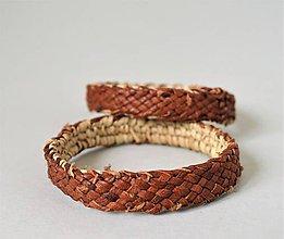 Náramky - Ručne pletený kožený náramok - 10685007_