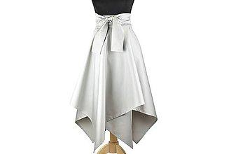 Sukne - sukňa asymetrická s výraznou viazačkou (Svetlosivá) - 10684091_