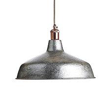 Svietidlá a sviečky - Industriálne závesné svietidlo INDUSTRIAL, ručne kované tienidlo v oceľovej farbe - 10685652_