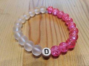 Náramky - Ružový s bielou, iniciálka na želanie - 10685025_