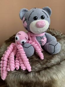 Hračky - medvedík a chobotnička - SET šedo/ružový - 10685526_