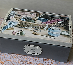 Krabičky - krásna veľká masívna krabica na šitie - 10684350_
