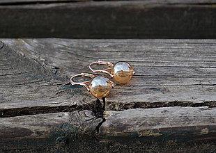 Náušnice - Perleťový krištáľ pozlátené Ag náušnice - 10683234_