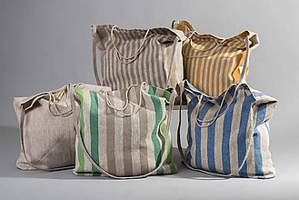 Nákupné tašky - Ľanová taška De Em (Modrá) - 10686484_
