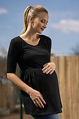 Tehotenské/Na dojčenie - Tehotenská tunika Elza Black - 10684638_