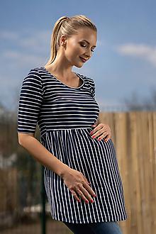 Tehotenské/Na dojčenie - Tehotenská tunika Elza Stripes - 10684664_