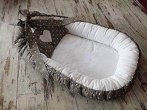 Textil - Hniezdo pre bábätko sivá hviezdička s bielou - 10685314_