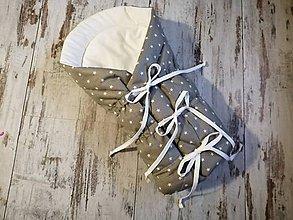 Textil - Sivá šnurovacia zavinovačka s hviezdičkami - 10686428_