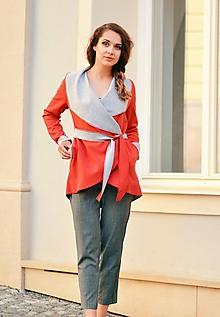 Kabáty - Red and gray - ZĽAVA! - 10683934_