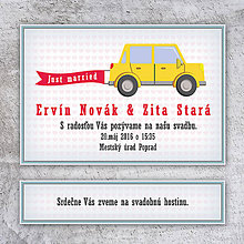 Papiernictvo - Svadobné oznámenie auto bez okrajov (hranaté päťdverové) - 10685308_