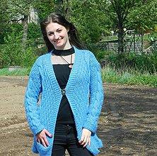 Svetre/Pulóvre - Oversize modrý kardigan - 10688624_
