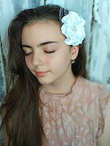 Ozdoby do vlasov - Svadobný kvet s francúzskou sieťkou - 10689333_