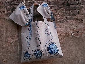 Veľké tašky - Lněná taška s pytliky - 10688972_