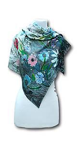 Šatky - Hodvábna šatka - Lúka plná motýľov - 10689021_