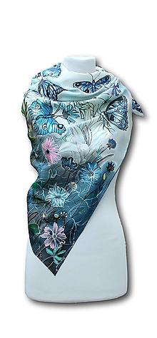 Šatky - Hodvábna šatka - Lúka plná motýľov - 10689022_