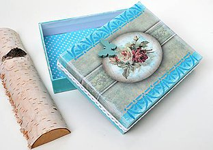 Krabičky - Krabička-Tyrkysová s ružičkami - 10688877_