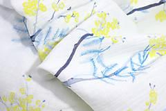Textil - FLORAL gázovinová prikrývka - Mimóza - 10687091_