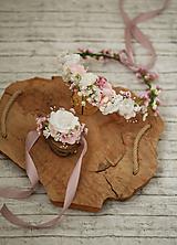 Ozdoby do vlasov - Romantický svadobný set vhodý aj na 1. sv.prijímanie - kvetinový venček a náramok - 10687900_