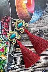 Náušnice - farebné tyrkysové s bordovým strapcom - 10689825_