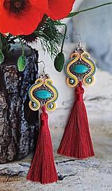Náušnice - farebné tyrkysové s bordovým strapcom - 10689826_