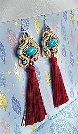 Náušnice - farebné tyrkysové s bordovým strapcom - 10689827_