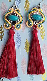 Náušnice - farebné tyrkysové s bordovým strapcom - 10689828_