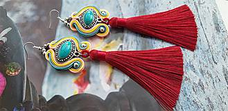 Náušnice - farebné tyrkysové s bordovým strapcom - 10689829_