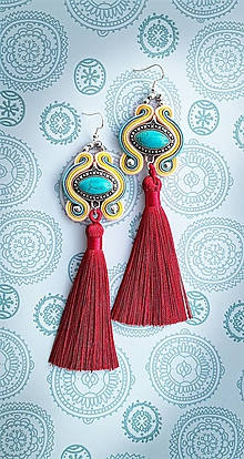 Náušnice - farebné tyrkysové s bordovým strapcom - 10689824_