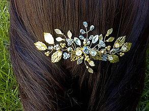 Ozdoby do vlasov - hrebienok - zlaté lístočky - 10687913_