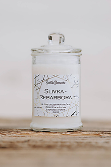 Svietidlá a sviečky - Sviečka zo sójového vosku v skle - Slivka & Rebarbora - 10687027_