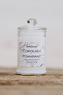 Svietidlá a sviečky - Sviečka zo sójového vosku v skle - Čokoláda & Pomaranč - 10687030_
