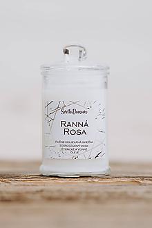 Svietidlá a sviečky - Sviečka zo sójového vosku v skle - Ranná Rosa - 10687040_