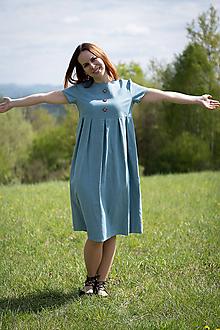 Šaty - Ľanové šaty modré - 10689497_