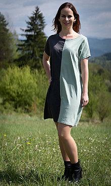 Šaty - Šaty mentolová s tmavošedou - 10689653_