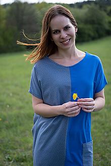 Šaty - Šaty modrá so sivou bodkovanou - 10689710_