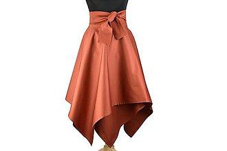 Sukne - sukňa asymetrická s výraznou viazačkou (Škoricová) - 10686911_