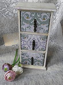 Dekorácie - Komoda malá fialový vzor - 10689014_