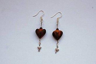 Náušnice - Predané Drevené náušnice - Opálené čerešňové srdiečka - 10688990_