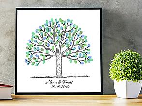 Grafika - Line Art svadobný strom na odtlačky prstov - 10688958_