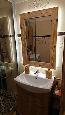 Zrkadlá - Drevené zrkadlo s LED podsvietením - 10687841_