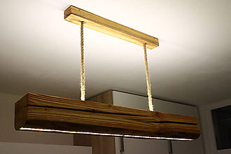 Svietidlá a sviečky - Drevená lampa s LED pásmi - 10689767_