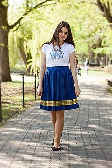 Sukne - Ručne plisovaná sukňa - Modrá - 10687489_