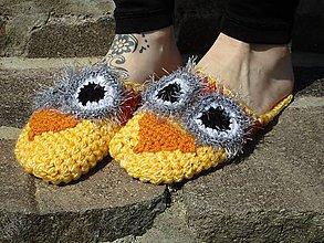 Obuv - žlto-oranžová sova podšitá filcom č.36-38 - 10688694_